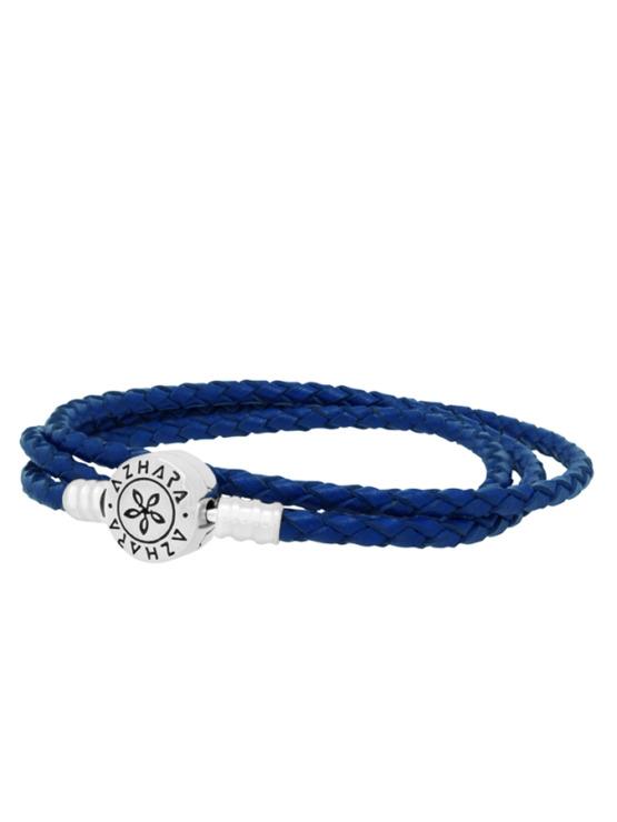 Pulsera Azul Trenzada Triple (lado)